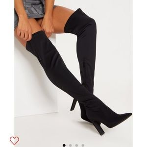 Over the knee sock heeled boots